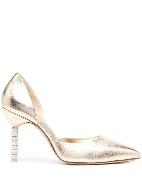 Sophia Webster Jasmine metallic leather pumps in gold