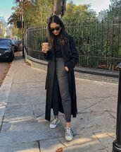 pants,cropped pants,sneakers,black coat,black turtleneck top,casual