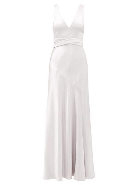 Galvan - Bella Hammered Satin Gown - Womens - Silver