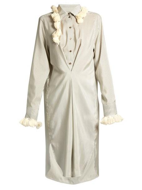 Loewe - Striped Tassel Trimmed Silk Shirtdress - Womens - White Multi