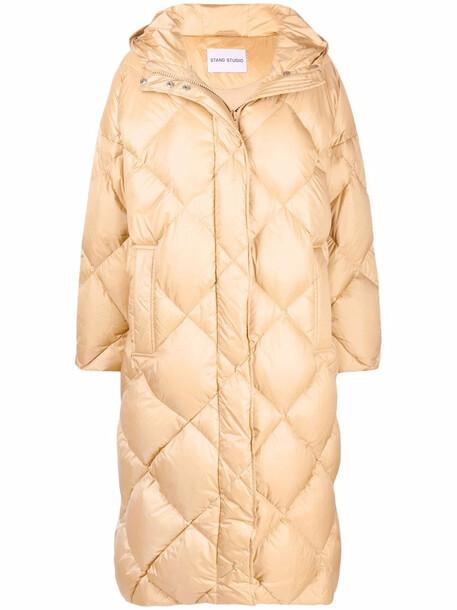 STAND STUDIO Farrah diamond-quilted coat - Neutrals