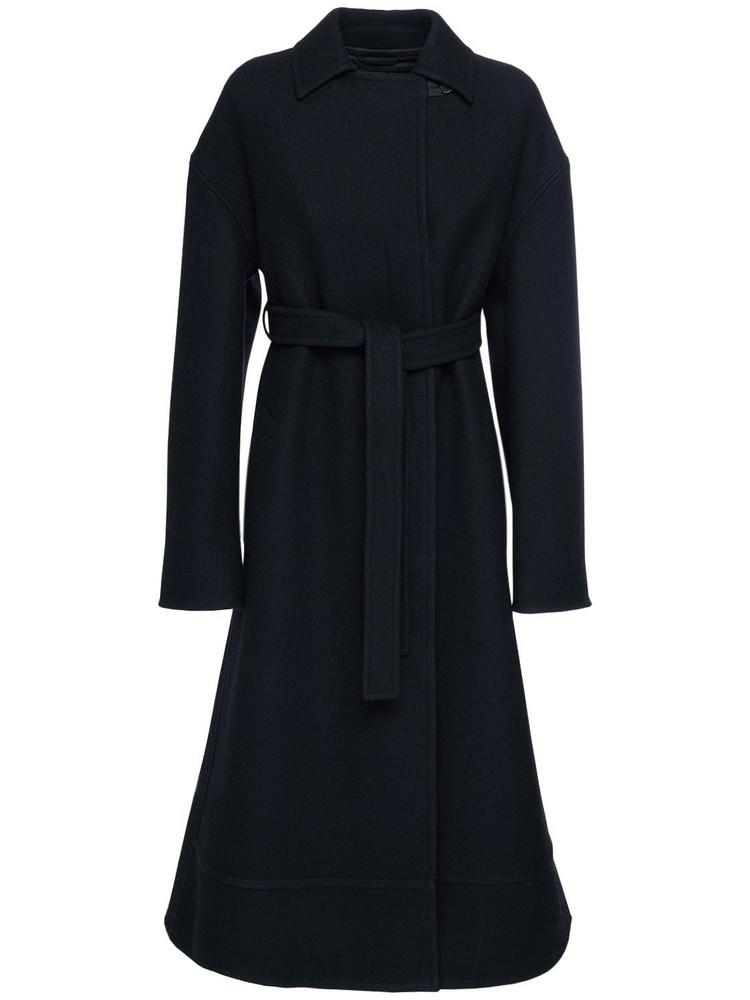 JIL SANDER Raw Edge Felt Wool Belted Coat in black
