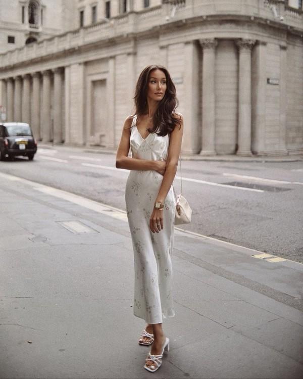 dress midi dress white dress slip dress topshop white sandals white bag