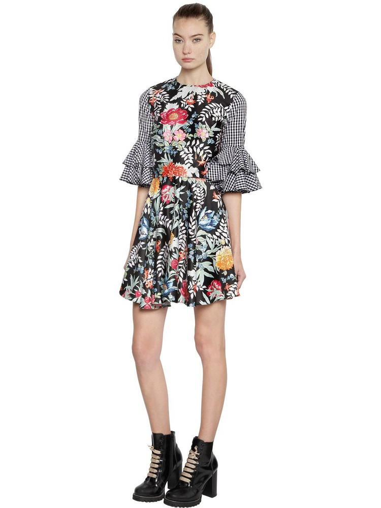 HOUSE OF HOLLAND Floral Satin & Gingham Mini Dress in black / multi