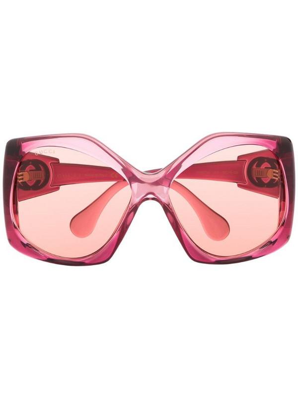 Gucci Eyewear angular-frame oversized sunglasses in pink