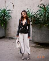 my white t,blogger,jacket,jeans,shoes