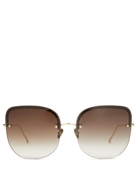 Linda Farrow - Loni Square 22kt Gold-plated Titanium Sunglasses - Womens - Gold