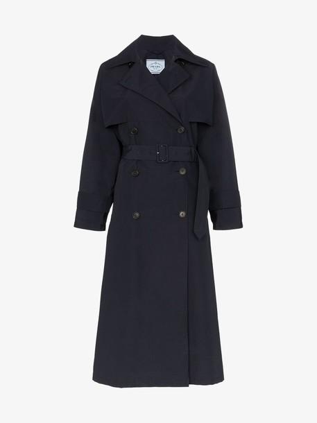 Prada mid-length trench coat in blue