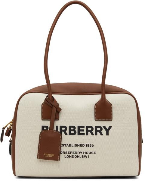 Burberry Brown Medium Half Cube Bag in natural / tan