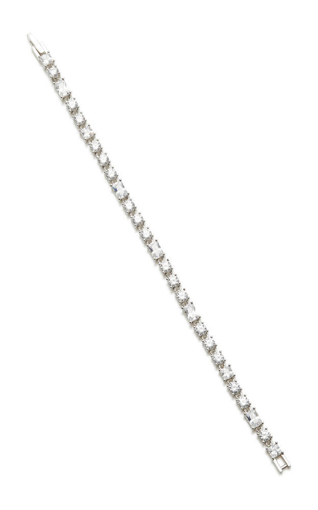 FALLON Monarch Deco Rhodium-Plated Crystal Bracelet in silver