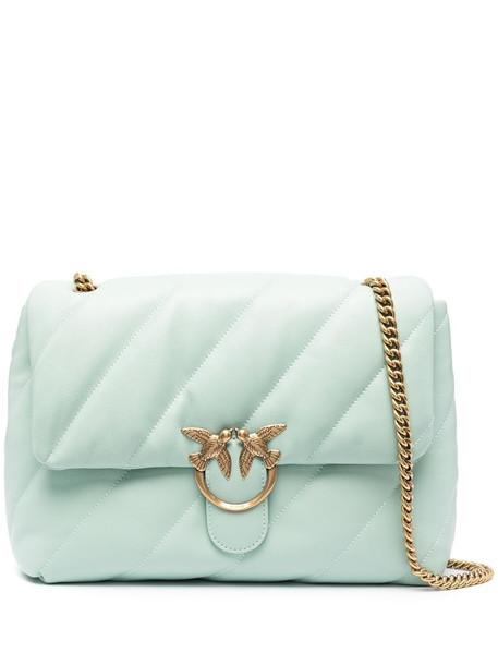 Pinko large Love maxi quilt shoulder bag in blue