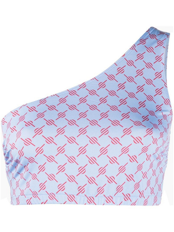 Daily Paper geometric print one-shoulder top in blue