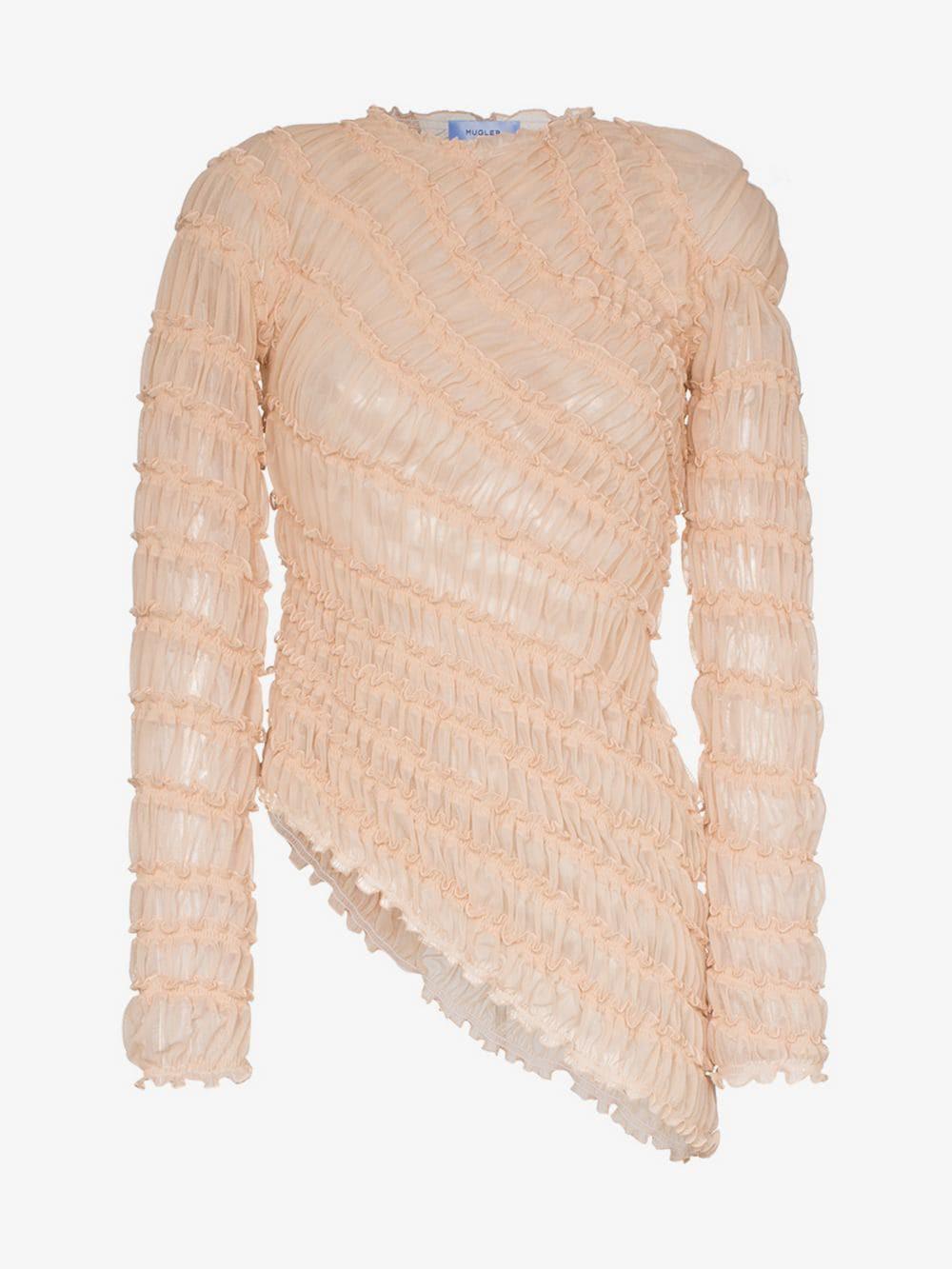 Mugler long-sleeved ruffle detail asymmetric blouse in neutrals
