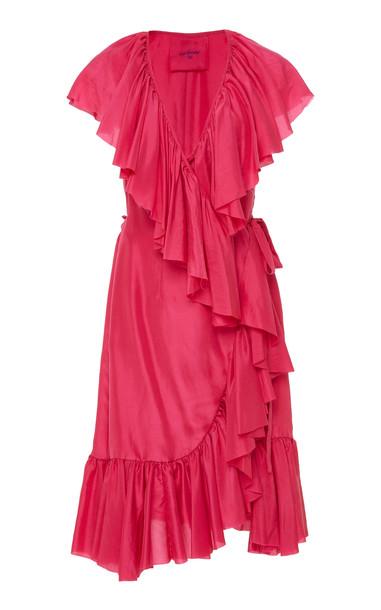Loup Charmant Callela Ruffled Silk-Chiffon Midi Dress Size: XS in pink