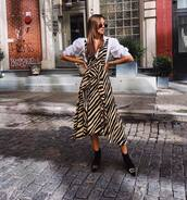 shoes,ankle boots,black boots,balenciaga,striped dress,midi dress,asymmetrical dress,white shirt
