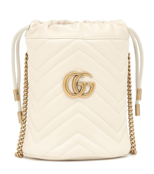 Gucci GG Marmont Mini leather bucket bag in white