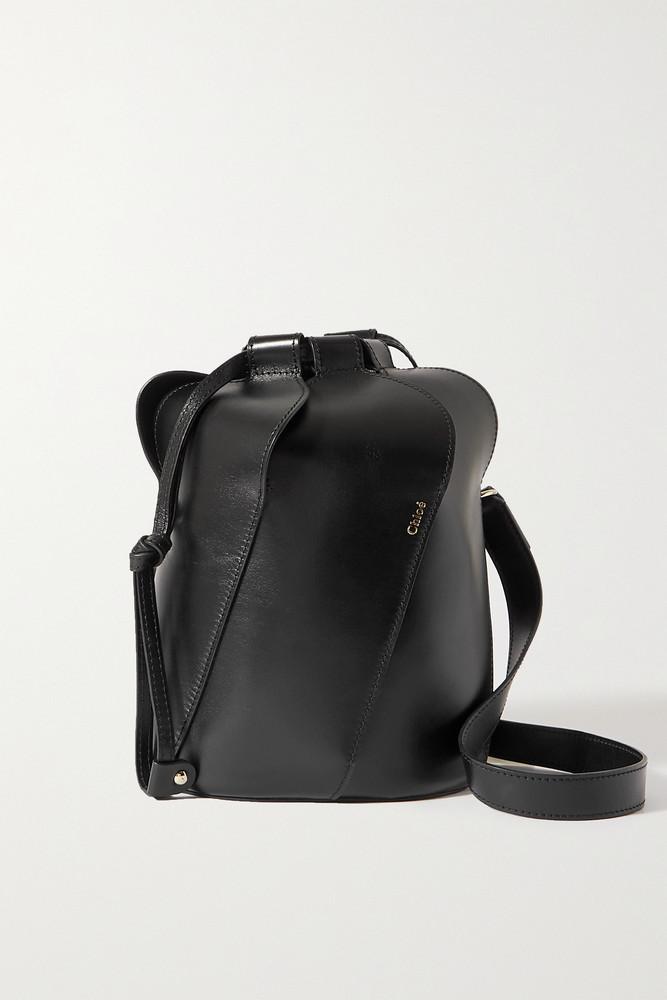 CHLOÉ CHLOÉ - Tulip Small Paneled Leather Bucket Bag - Black