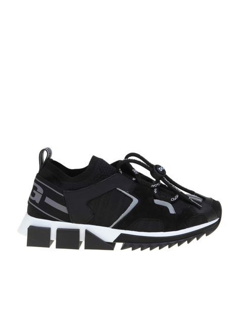 Dolce & Gabbana Sorrento Sneakers Trekking In Knit And Leather Black