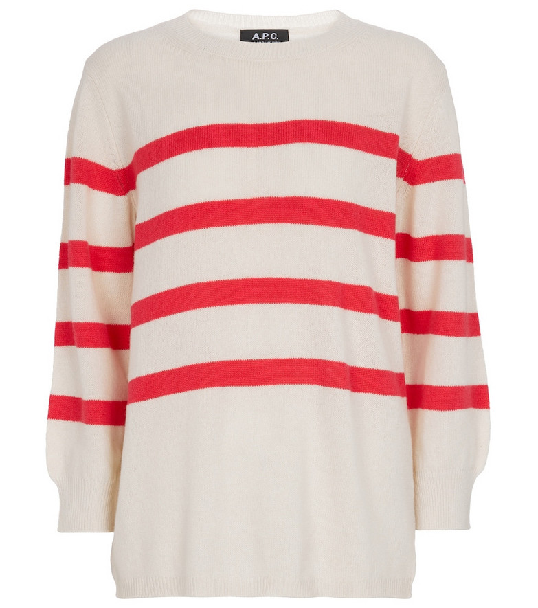 A.P.C. Striped wool and cotton sweater in white
