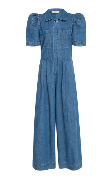 Sea Piper Denim Wide-Leg Jumpsuit Size: 4 in blue