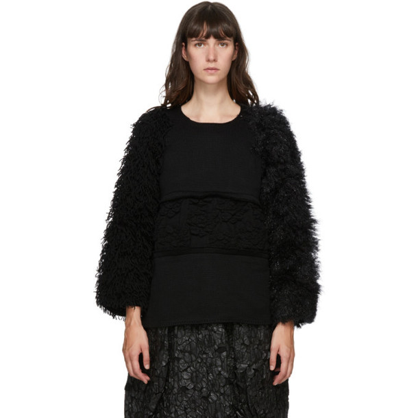 Comme des Garcons Black Wool Multi-Material Sweater