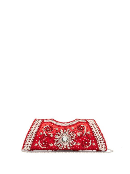Shrimps - Dallas Crystal, Faux-pearl And Beaded Satin Clutch - Womens - Red