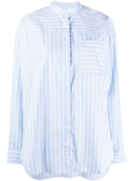 MSGM striped collarless shirt in blue