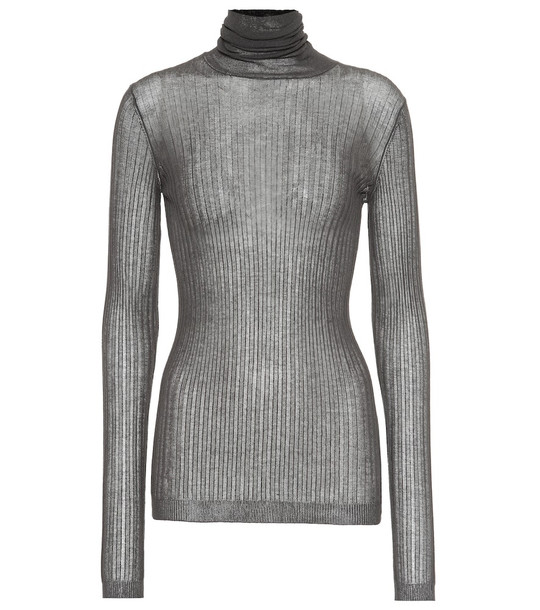 Bottega Veneta Cotton-blend turtleneck sweater in brown