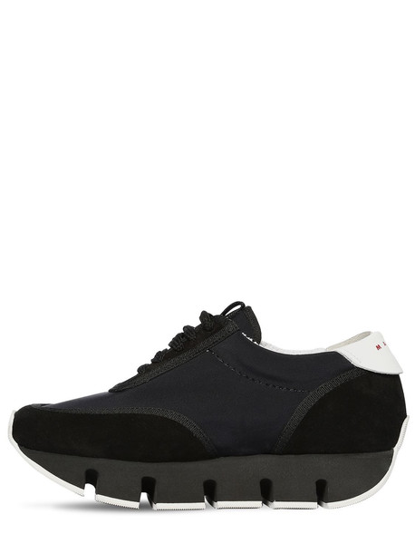 MARNI 40mm Cotton & Suede Sneakers in black