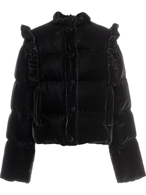 Miu Miu velvet puffer jacket in black