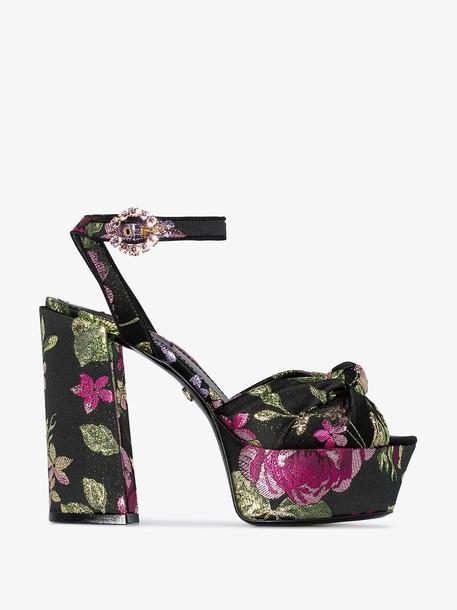 Dolce & Gabbana Black 105 floral print leather flatform sandals