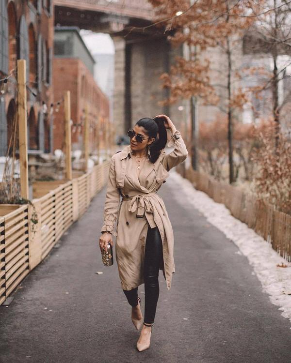 coat trench coat double breasted pumps black leggings leather leggings handbag