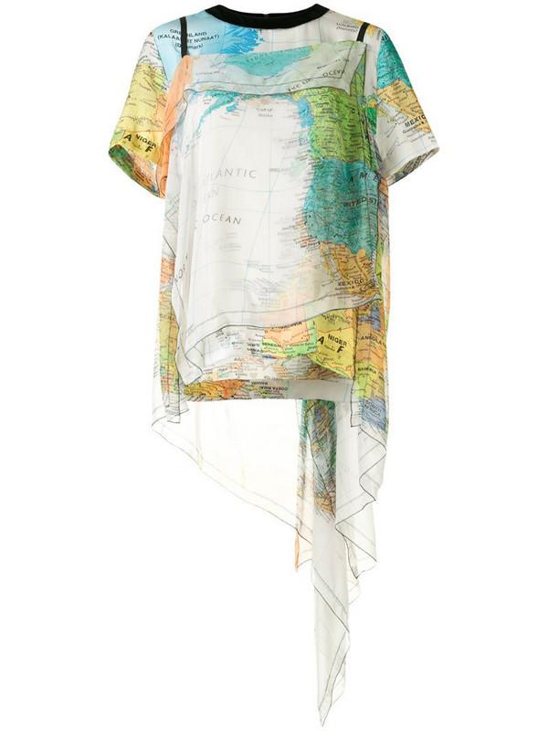 Sacai World Map print layered top