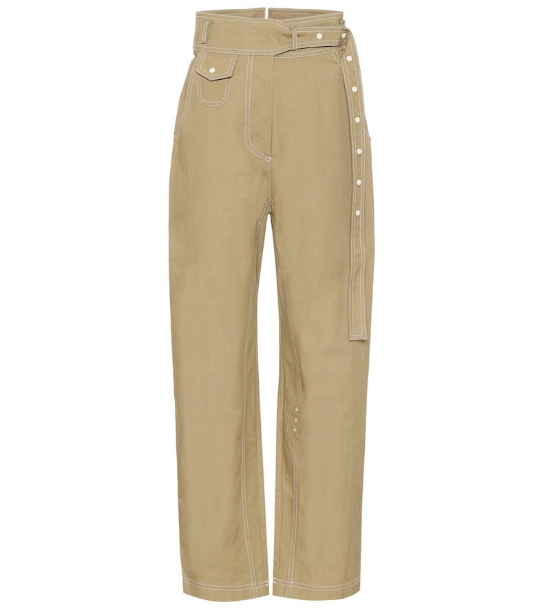 Low classic High-rise straight cotton pants in beige