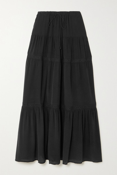 JOSLIN - + Net Sustain Adalyia Crocheted Lace-trimmed Silk Crepe De Chine Maxi Skirt - Black
