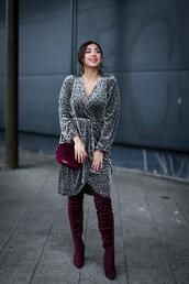 samieze,blogger,dress,shoes,bag,boots,thigh high boots,red bag