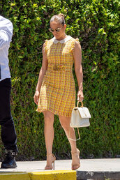 dress,jennifer lopez,mini dress,yellow,yellow dress,plaid,celebrity
