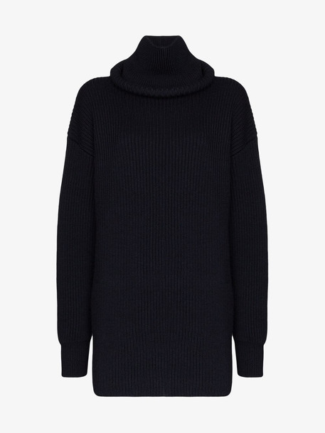 Balenciaga oversized ribbed turtle neck wool jumper in blue