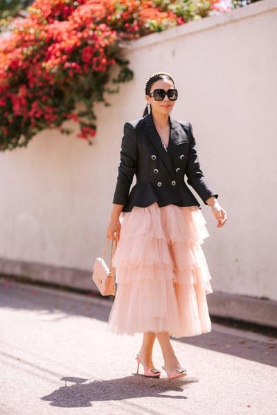 hallie daily blogger jacket skirt bag sunglasses jewels tulle skirt pink skirt pink bag chanel bag tulle skirt