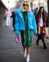 jacket,puffer jacket,blue jacket,white boots,ankle boots,heel boots,handbag,midi dress,pleated dress