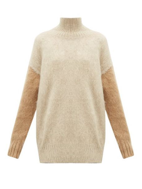 Burberry - Otama Fluffy Roll-neck Sweater - Womens - Beige Multi