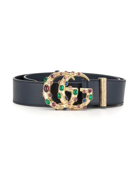 Gucci crystal-embellished logo plaque belt in black