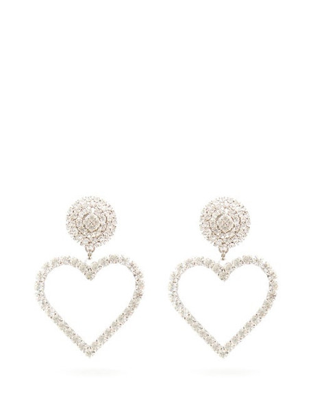Alessandra Rich - Open Heart Crystal Earrings - Womens - Crystal