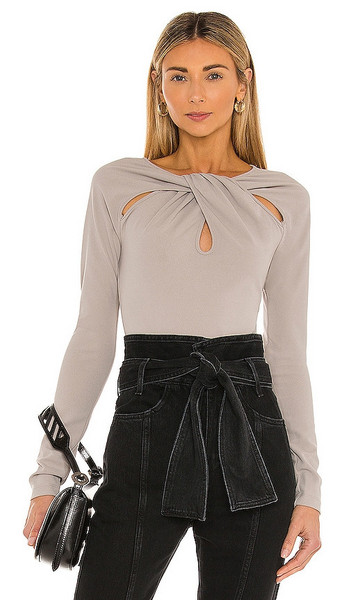NBD Drape Front Bodysuit in Grey in gray