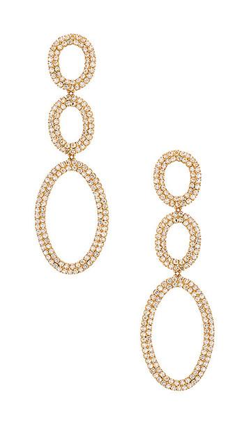 Ettika Drop Triple Hoop Earrings in Metallic Gold