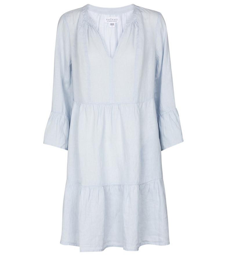 Velvet Aurora linen minidress in blue