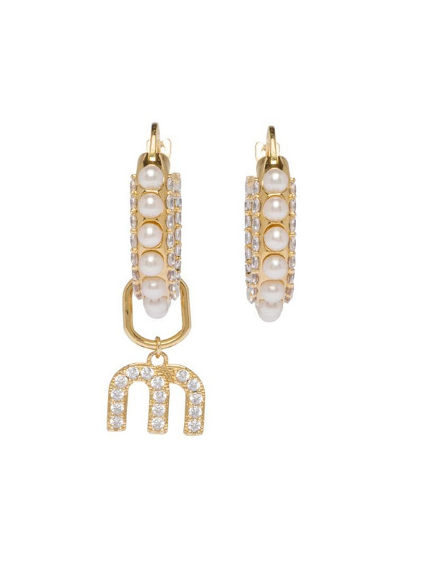 Miu Miu Miu Pearl hoop earrings in gold
