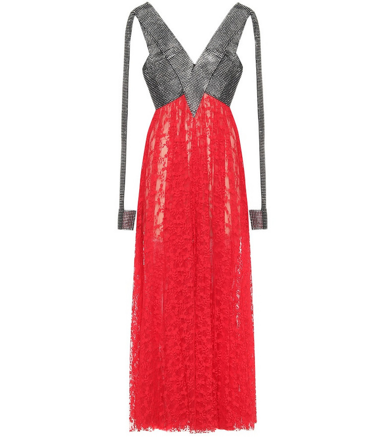 Christopher Kane Crystal and lace gown in red
