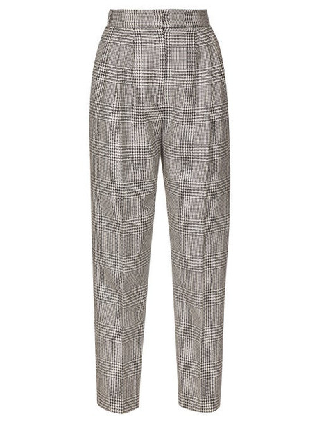 Alexander Mcqueen - High Rise Prince Of Wales Checked Trousers - Womens - Black White