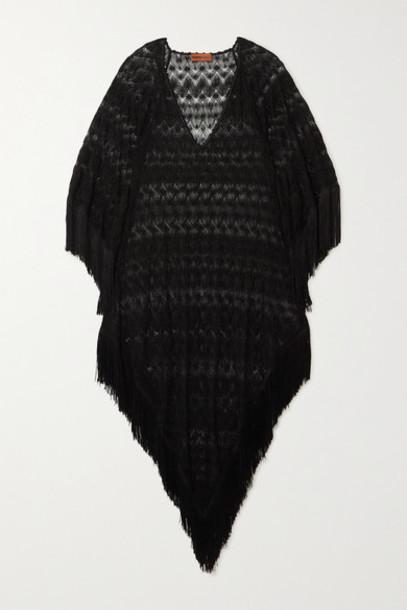 Missoni - Fringed Metallic Crochet-knit Kaftan - Black